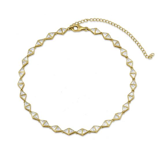 14K Gold Plated Sterling Silver Triangle CZ Choker