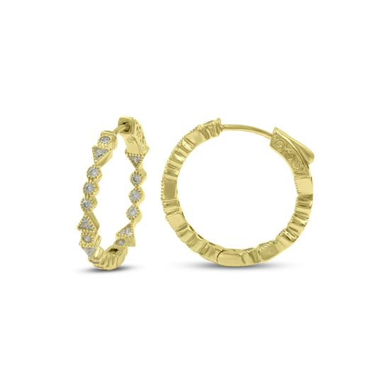 Lovely Gold Plated Sterling Silver CZ Hoop Earrings