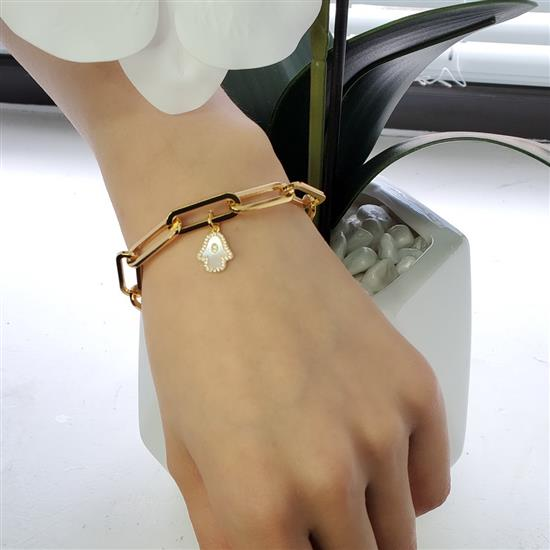 Gold Plated Sterling Silver Mother of Pearl Hand CZ 20*8MM Link Bracelet