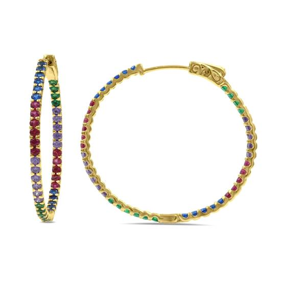 Gold Plated Sterling Silver Rainbow CZ Hoop Eearring