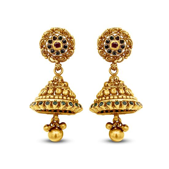 Colorful Floral Jhumkas In 22K Gold With Enamel