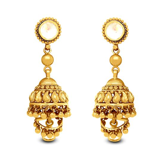 Stylish Jhumka Earrings In 22K Gold With Lac