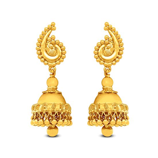 Traditional Jhumka Earrings In 22K Gold