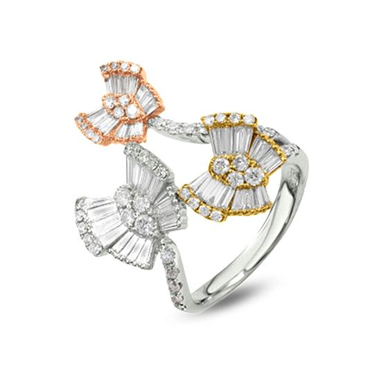 18K TRI COLOR DIAMOND BUTTERFLY RING