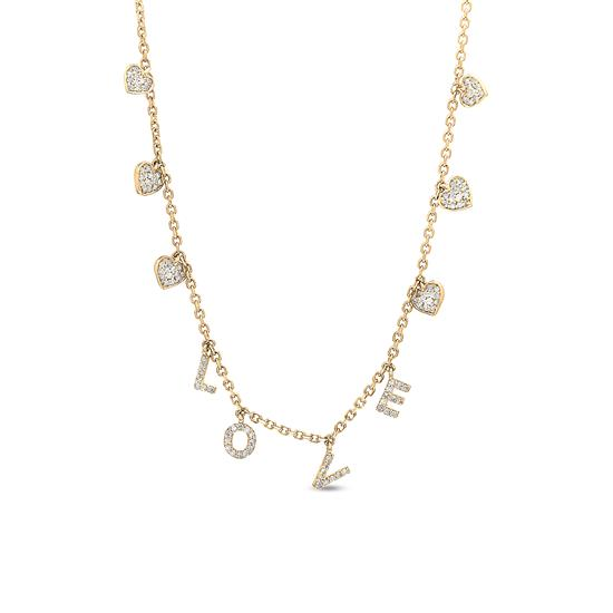 14k yellow gold love necklace with hearts