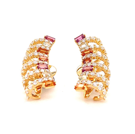 18K YELLOW GOLD MULTICOLOR SAPPHIRE AND DIAMOND EARRINGS