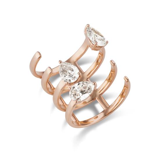 18K ROSE GOLD DIAMOND OPEN RING