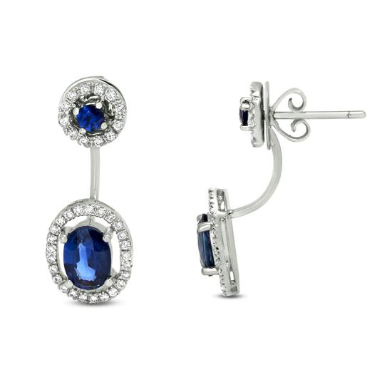 18K DIAMOND AND BLUE SAPPHIRE EARRINGS