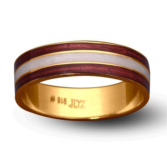 Enamel Band Ring In 22K Gold