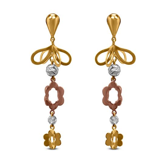 Floral Dangle Earring In 22K Gold With Rhodium