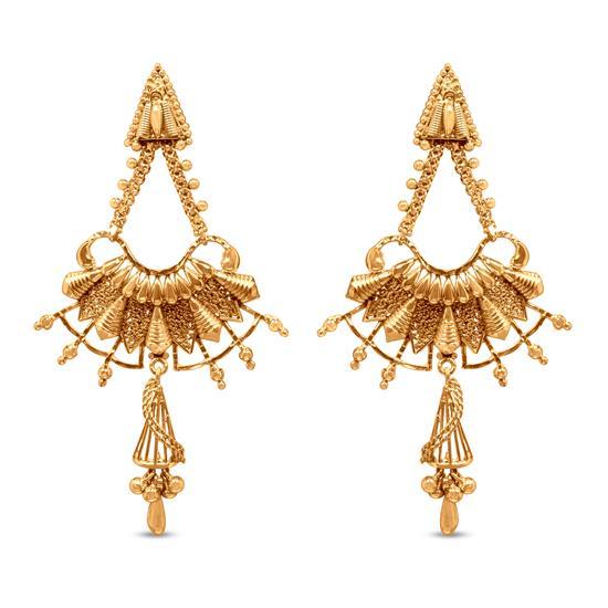 Vintage Dangle Earring In 22K Gold