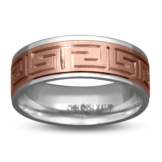 Mens Band Ring In 18K White And Rose Gold