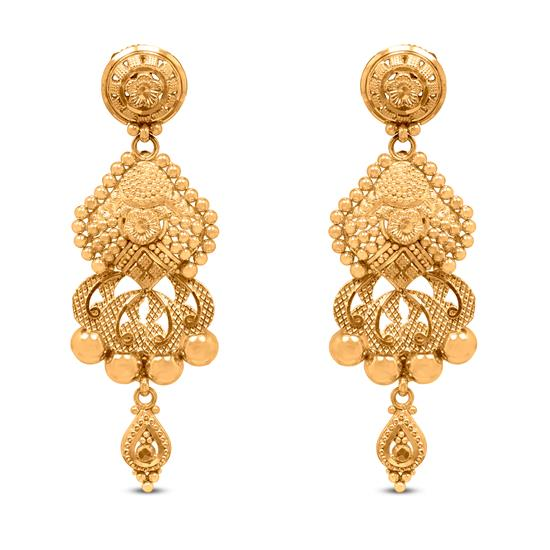 Traditional Dangle Earring In 22K Gold