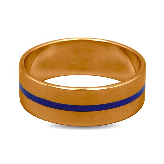 Mens Band Ring In 22K Gold With Blue Enamel