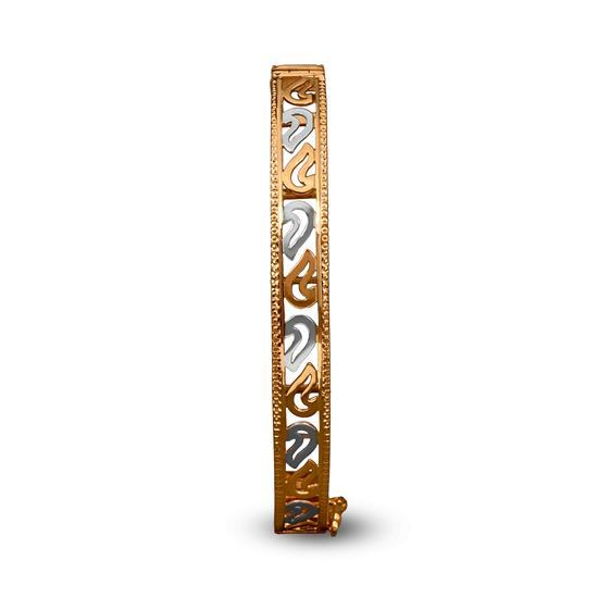 Ornate Bracelet In 22K Gold With Rhodium