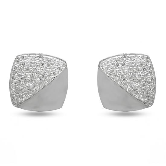 Cufflinks In 18K White Gold With Diamond