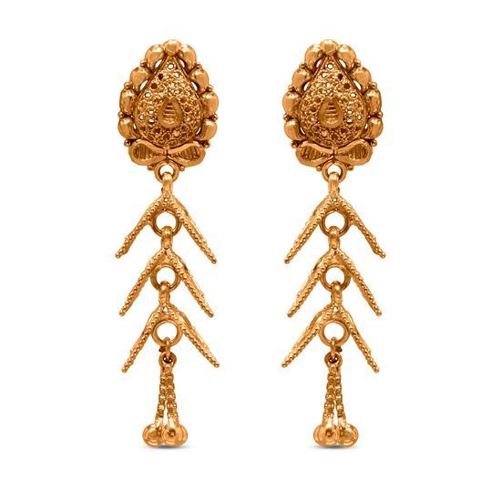Dangle Earring In 22K Gold