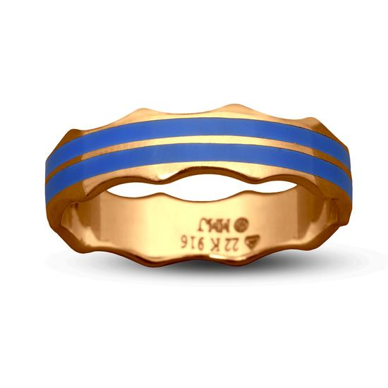 Swirl Band Ring In 22K Gold With Enamel