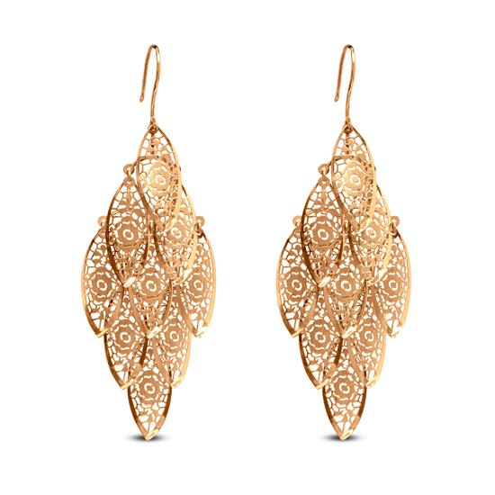 Leaf Hoop Earring In 22K Gold