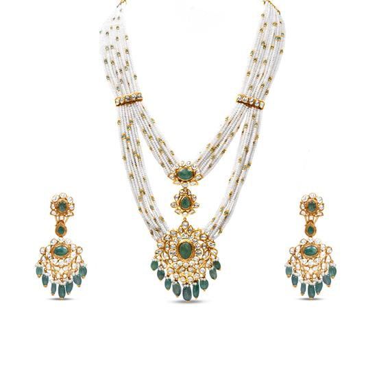 Polki Necklace Set With Emerald And Pearl In 18K Yellow Gold