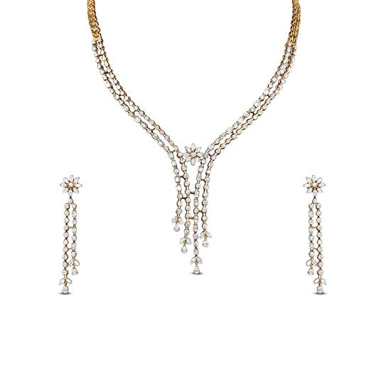 Y Necklace Set With Diamond In 18K Yellow Gold