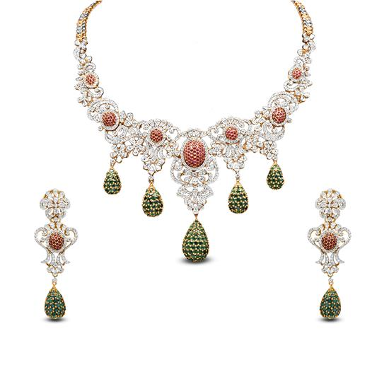Diamond Necklace Set In 18K Yellow Gold With Ruby And Diamond