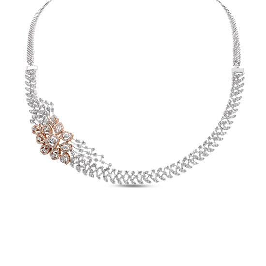 Diamond Necklace In 18k White And Rose Gold