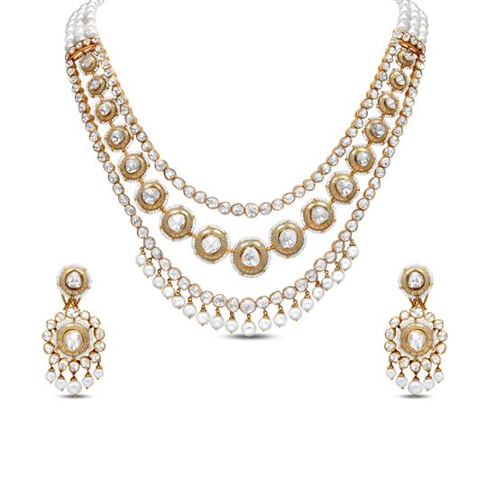 Layered Polki Necklace Set With Pearl In 18K Yellow Gold