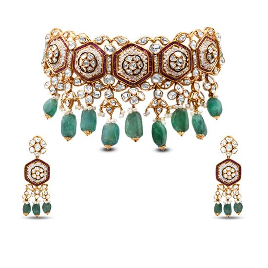 Choker Polki Necklace With Emerald, Pearl And Ruby In 18K Yellow Gold