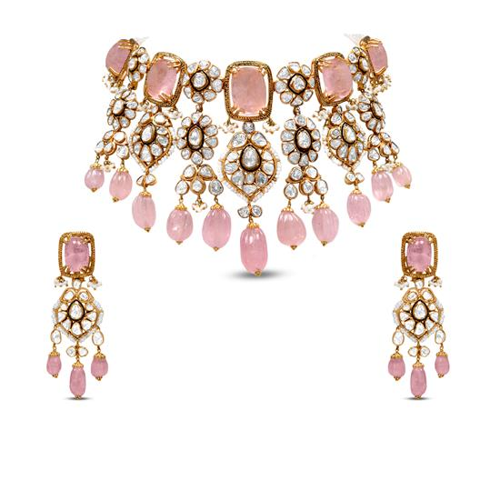 Choker Polki Necklace Set In 18K Yellow Gold With Pearl And Pink Tourmaline