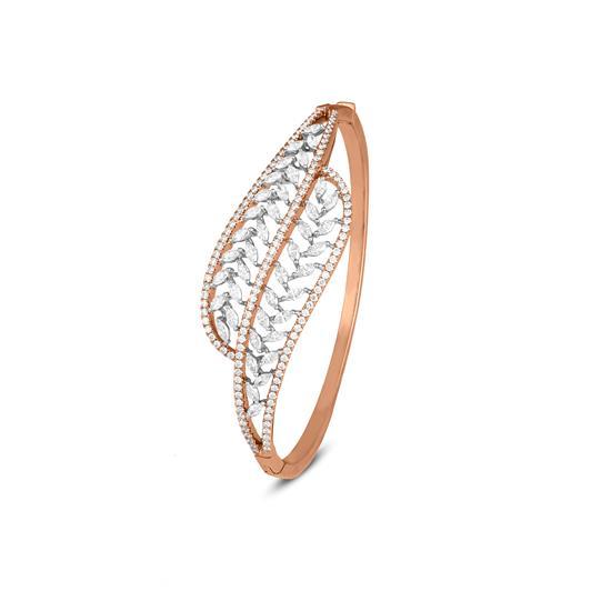 Leaf Diamond Bracelet In 18K Rose Gold