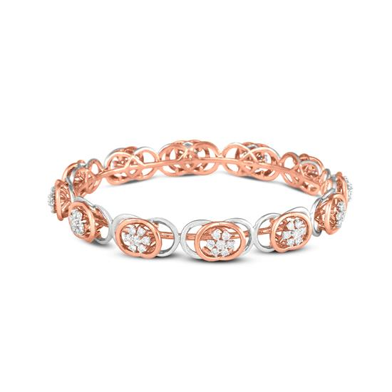 Diamond Bangle In 18K Rose Gold With White Rhodium