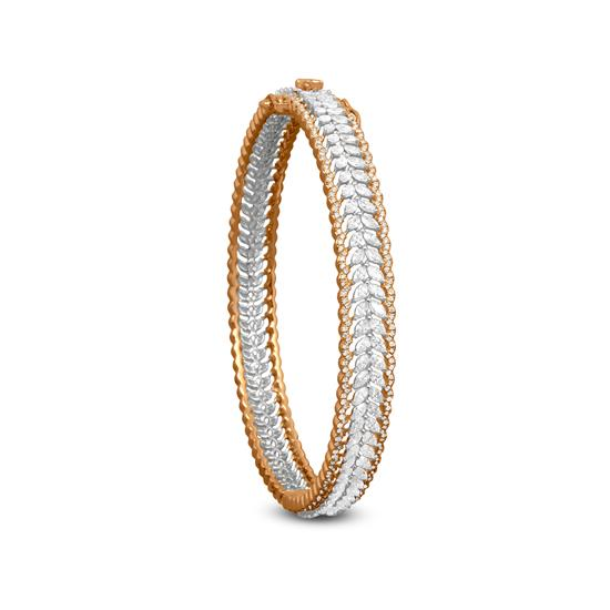 Leaf Diamond Bangle In 18K White And Yellow Gold