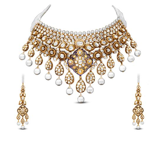 Collar Polki Necklace Set In 18K Yellow Gold With Pearl And Enamel