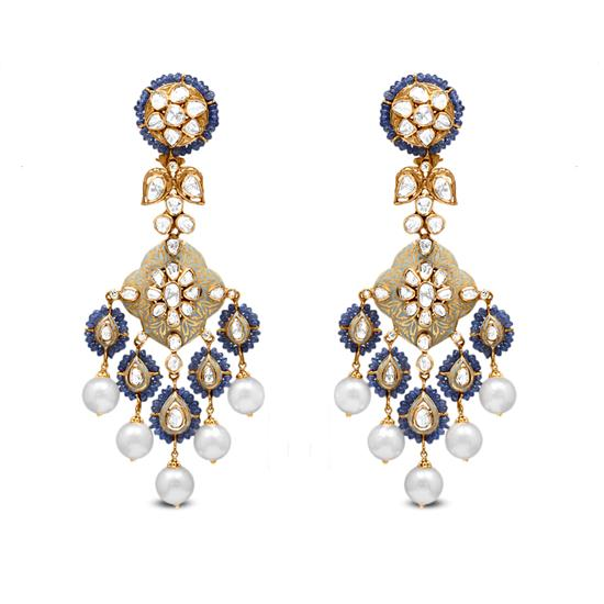 Polki Drop Earring In 18K Gold With Pearl And Bead