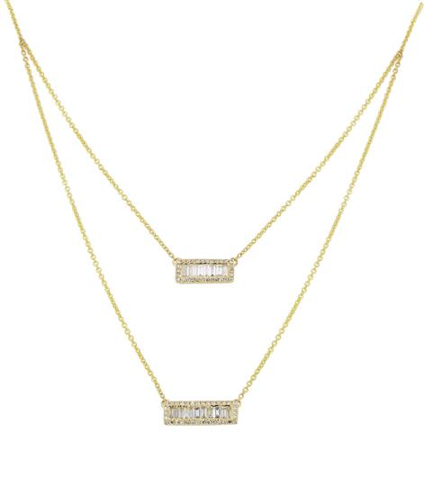 Layered Diamond Necklace In 14K Yellow Gold
