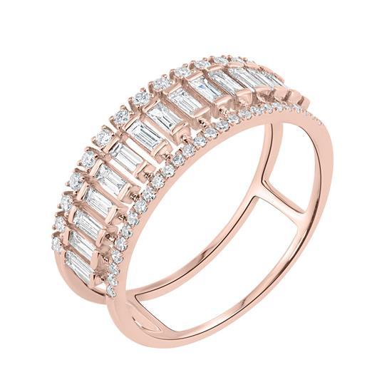Split Shank Diamond Ring In 14K Rose Gold