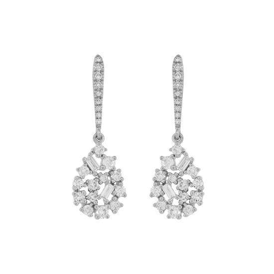 Earring With Diamond In 14K White Gold