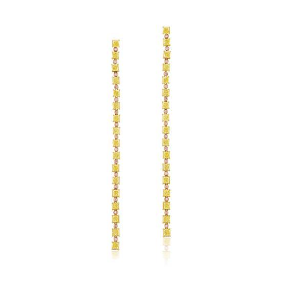 Yellow & Pink Diamond Earrings