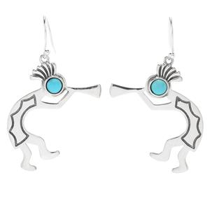 "Paul & Judy Sterling Silver 1"" Sleeping Beauty Turquoise Dancer Drop Earrings"
