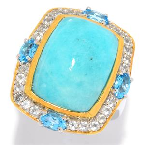 JOYA Gold Label by Judy Crowell Sterling Silver Amazonite & Gemstone Halo Ring