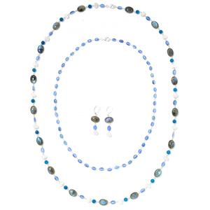 JOYA by Judy Crowell Sterling Silver Multi Gem Necklace & Drop Earrings 3-Piece Jet Set