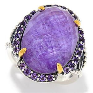 JOYA by Judy Crowell 18 x 13mm Oval Quartz & Gem Doublet Halo Ring