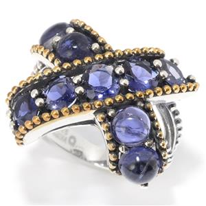 "JOYA by Judy Crowell Sterling Silver Round Iolite Beaded ""X"" Ring"