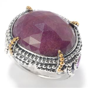 JOYA by Judy Crowell Sterling Silver 18 x 14mm Madurai Ruby & Rhodolite Garnet Ring