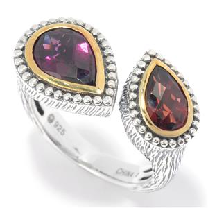 JOYA by Judy Crowell Sterling Silver 3.00ctw Rhodolite & Garnet 2-Stone Open Band Ring