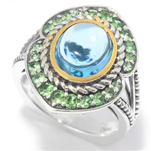 JOYA by Judy Crowell Sterling Silver Swiss Blue Topaz & Tsavorite Halo Split Shank Ring