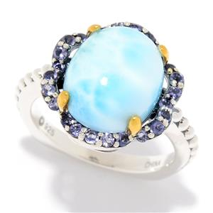 JOYA by Judy Crowell Sterling Silver 12 x 10mm Oval Gemstone Flower Ring