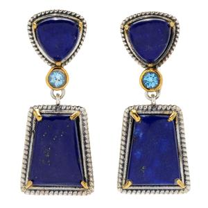 "JOYA by Judy Crowell Sterling Silver 1.25"" Lapis & Swiss Blue Topaz Drop Earrings"