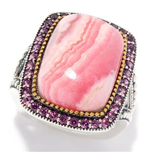 JOYA by Judy Crowell Sterling Silver 16 x 12mm Rhodochrosite & Rhodolite Ring